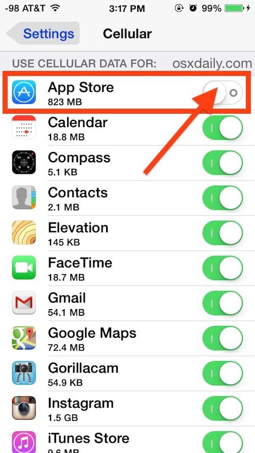 Disabilitazione dell'utilizzo dei dati cellulari per un'app specifica in iOS