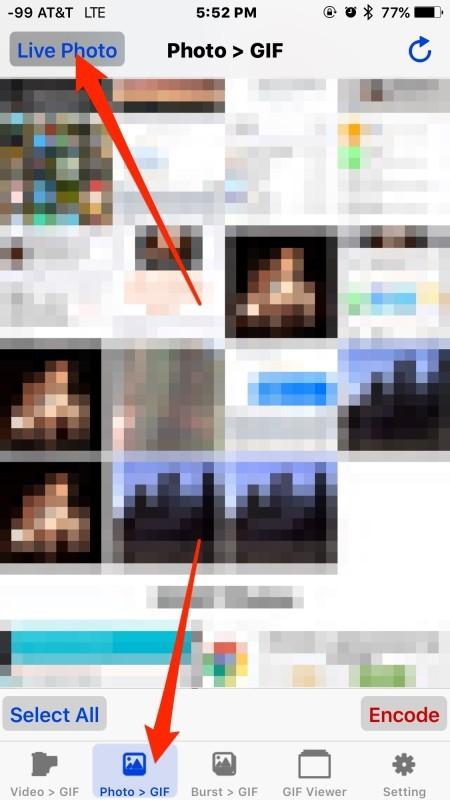 Conversione di foto live in GIF animate