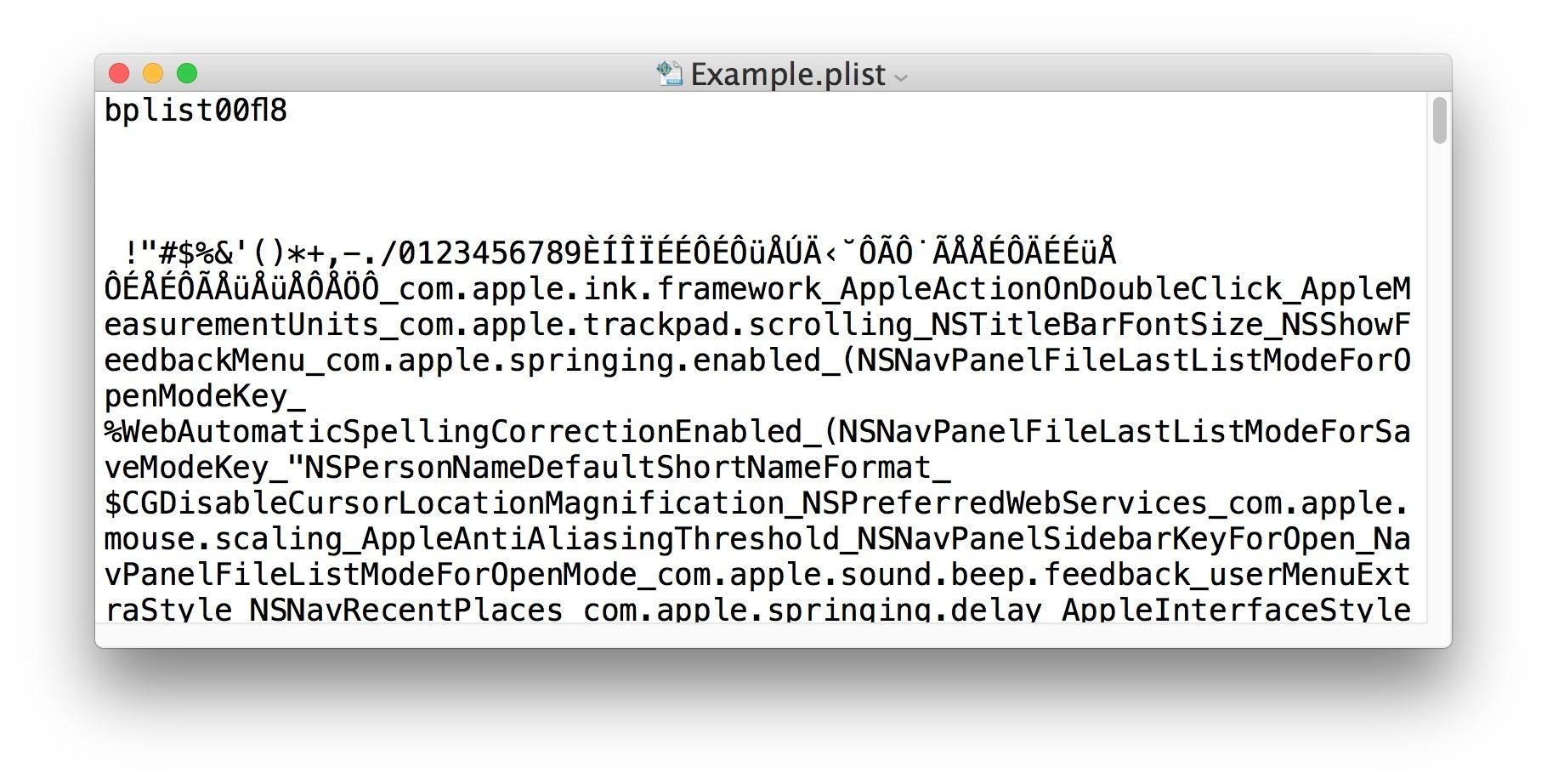 File plist binario non modificabile nell'editor di testo