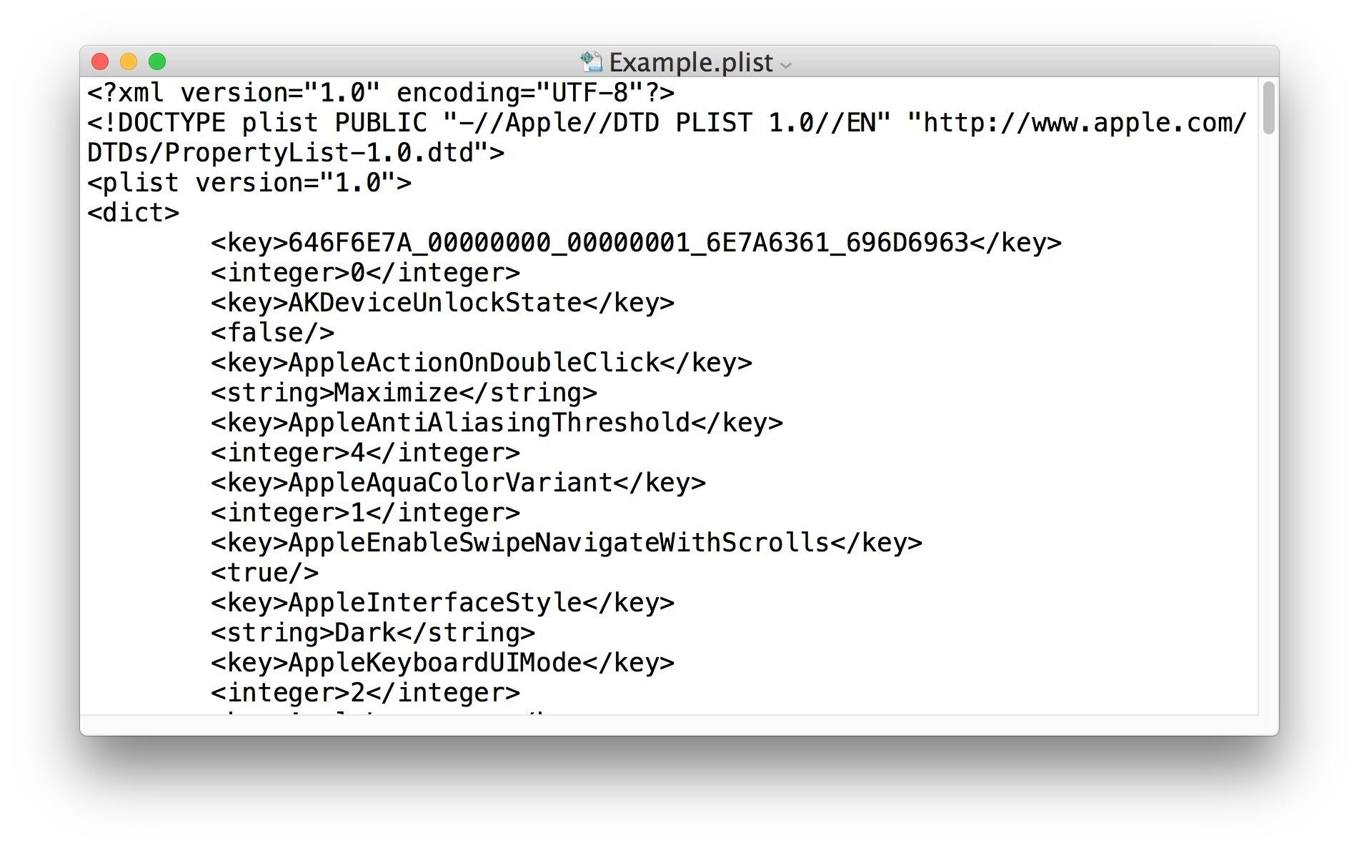 Il file plist convertito in formato XML da binario può essere modificato in editor di testo