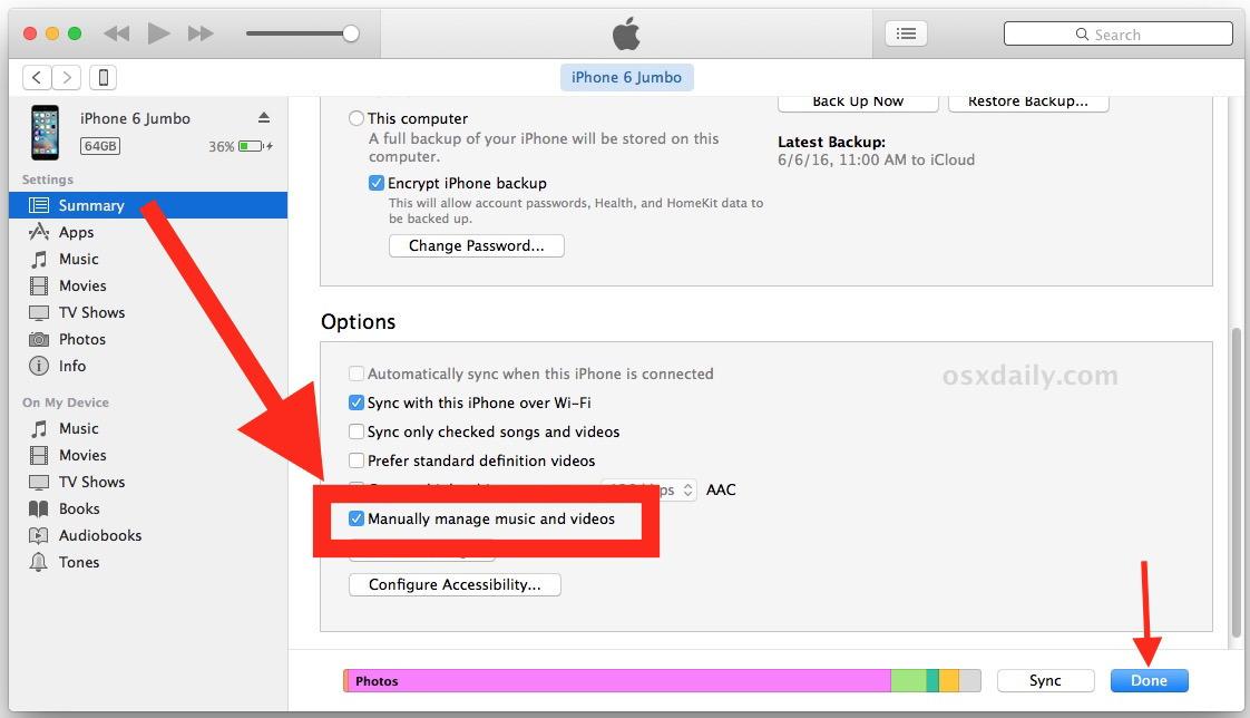 Consenti copia di musica su iPhone da iTunes con trascinamento
