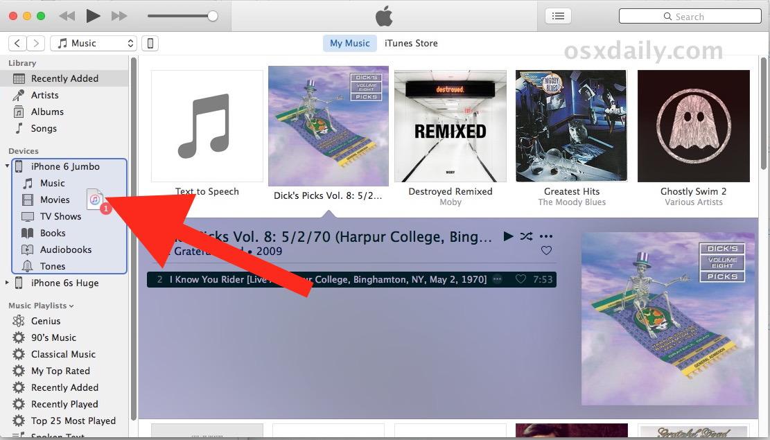 Trascina e rilascia la musica su iPhone per copiare da iTunes