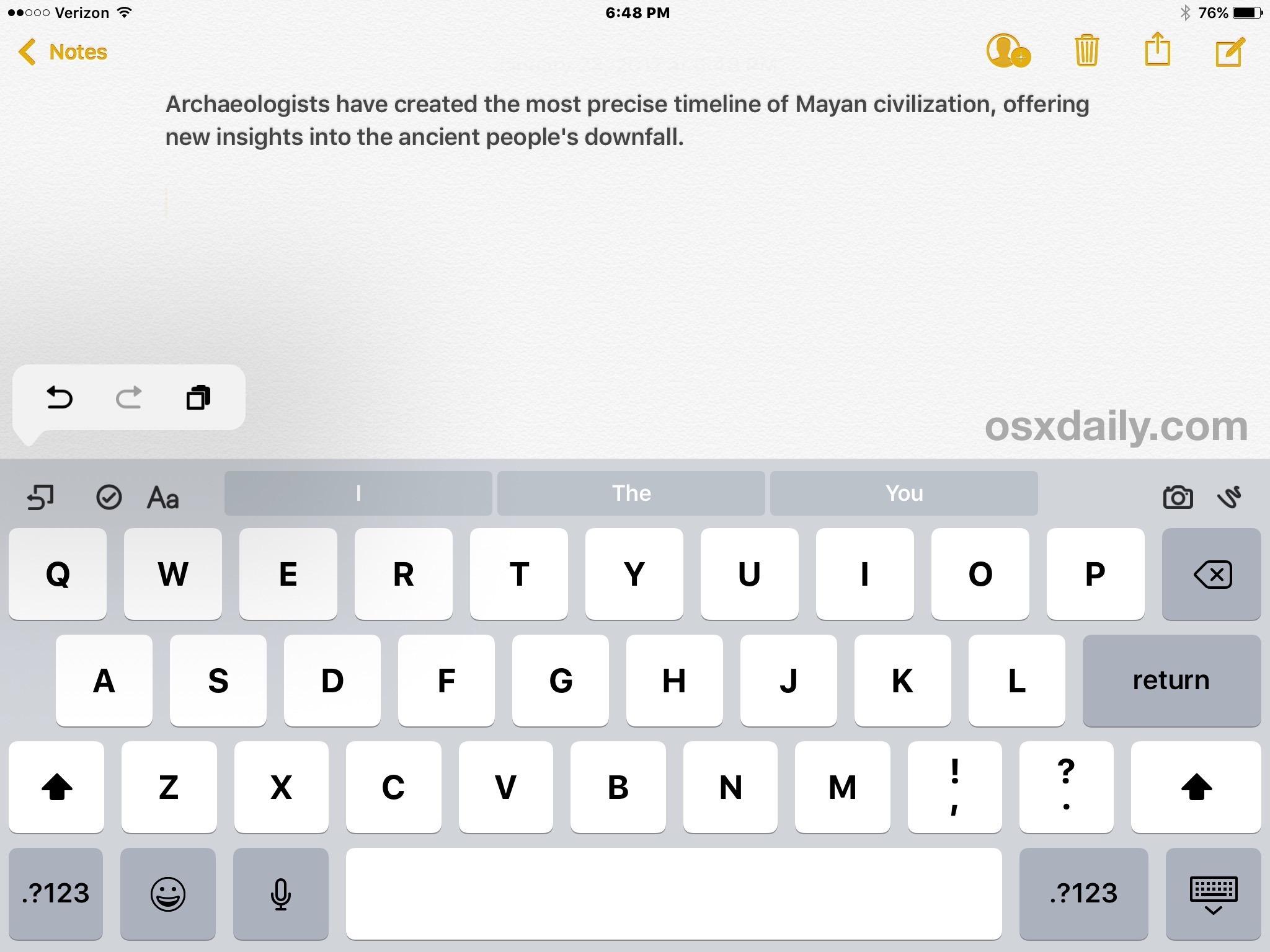 Dati incollati su iPad che sono stati copiati negli appunti