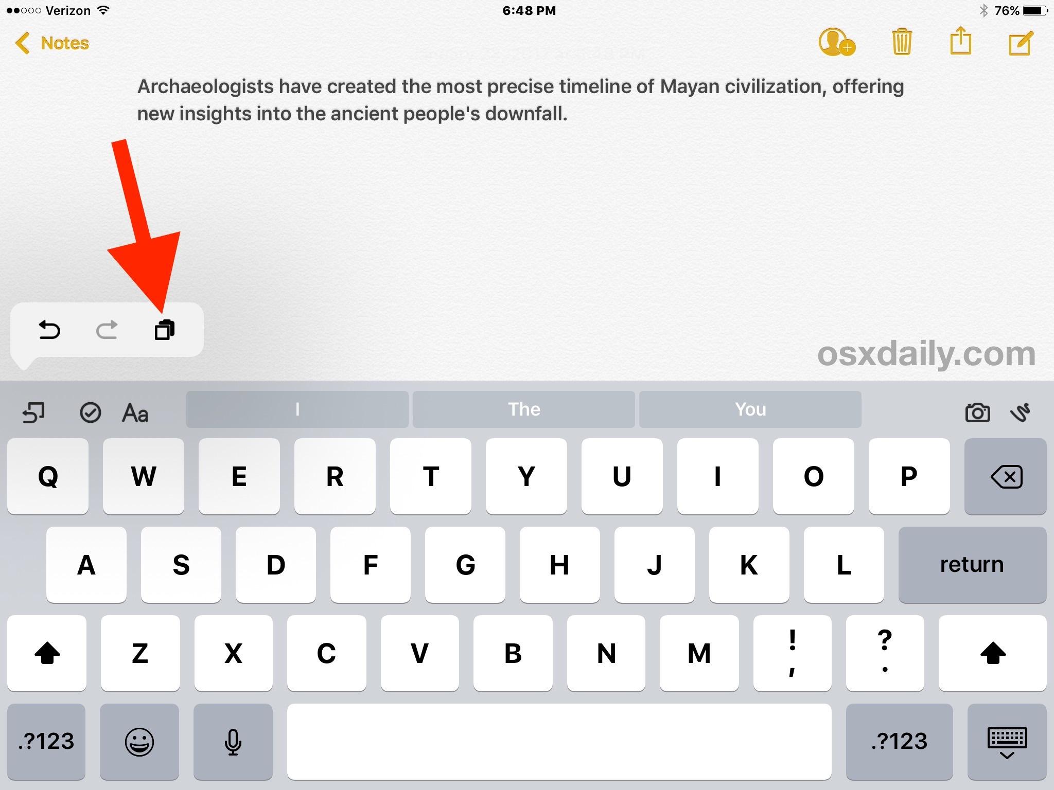 Utilizzo di copia e incolla con tastiera virtuale su iPad