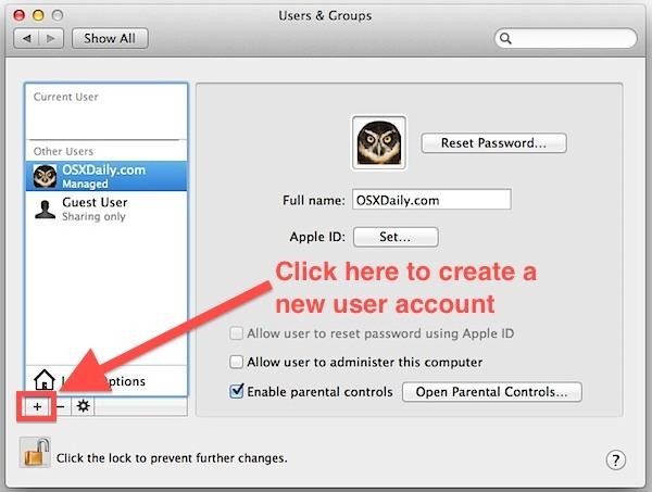 Crea un nuovo account utente in Mac OS X