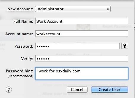 Creazione del nuovo account utente su Mac OS X
