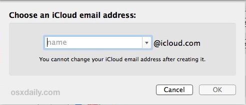 Scegli l'indirizzo email per iCloud