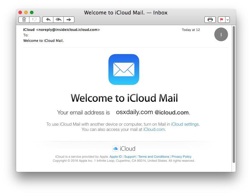 Conferma nuovo indirizzo email iCloud fatto