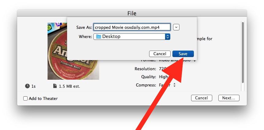 Come ritagliare un video su Mac con iMovie che salva il file