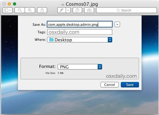 Salvare uno sfondo come PNG con il nome corretto da impostare come immagine di sfondo di login