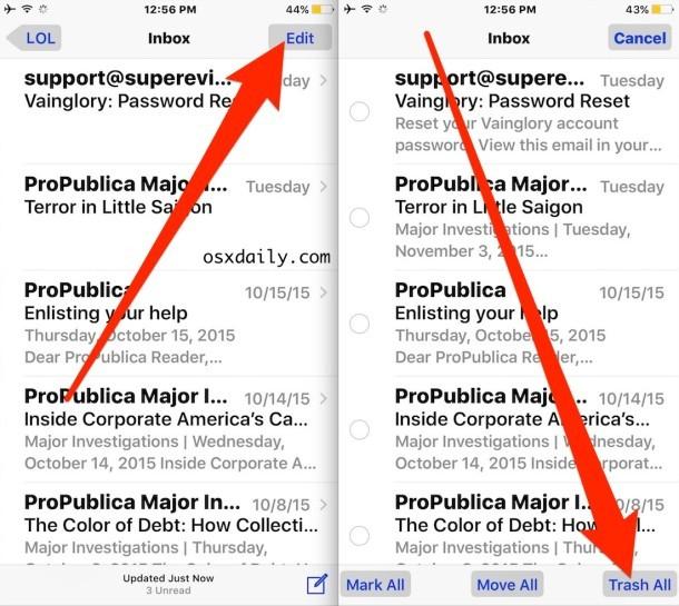 Elimina tutte le email nell'app iOS Mail con Cestino tutto