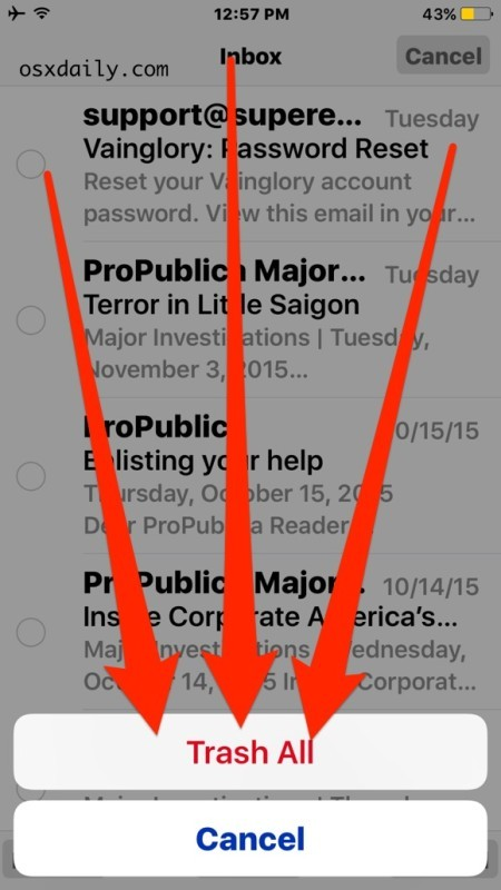 Conferma per eliminare tutta la posta elettronica nell'app per iOS Mail