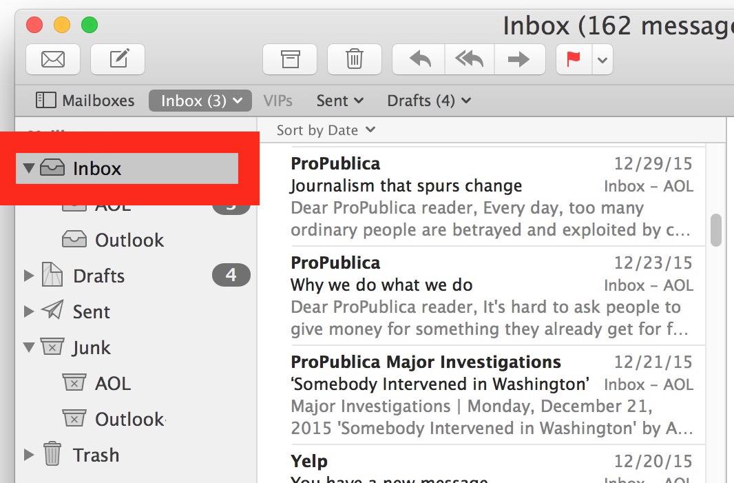 Seleziona la Posta in arrivo nell'app Mail per eliminare tutte le email