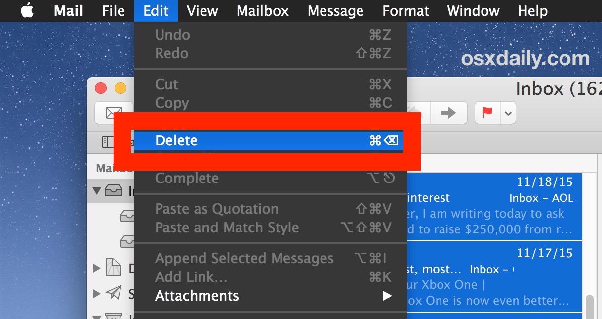 Elimina tutte le email selezionate nell'app per Mac Mail