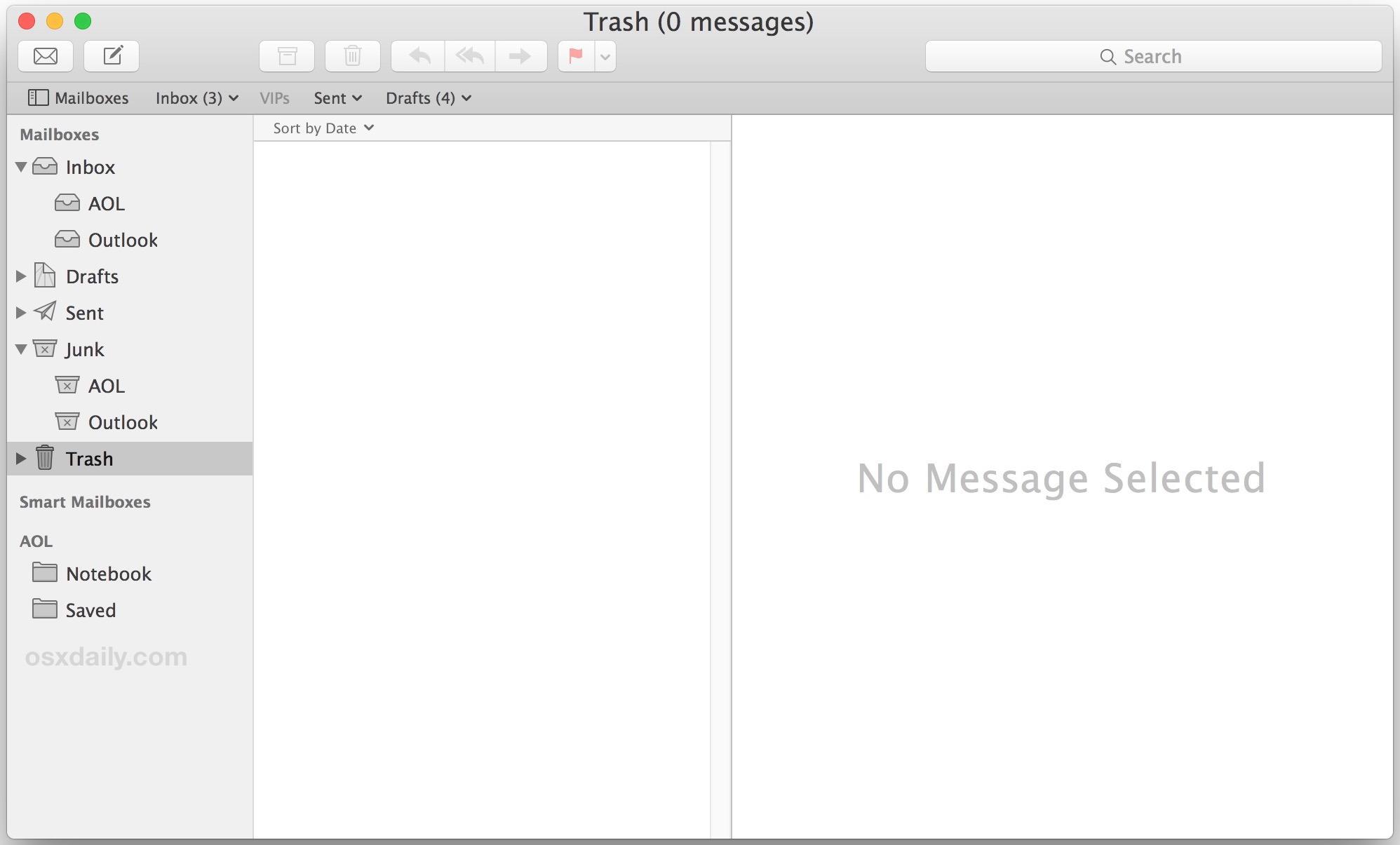 Tutte le email eliminate, un'app di posta elettronica vuota in Mac OS X
