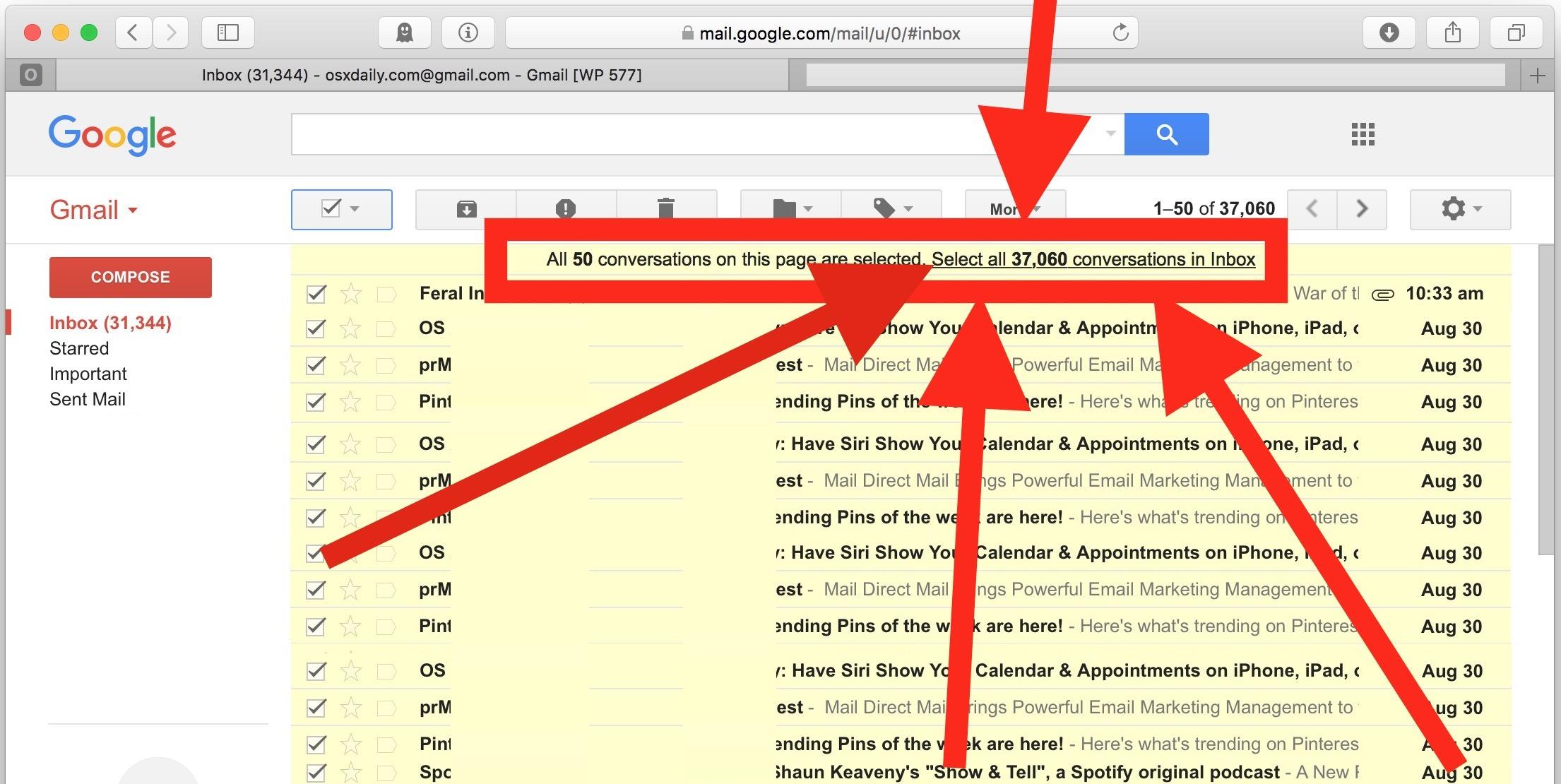 Come eliminare TUTTE le email di Gmail dall'account di Google