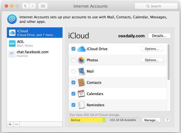 Elimina altri account di posta o account Internet in Mac OS X.