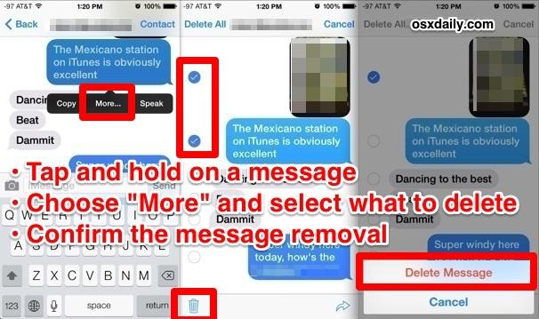 Elimina parti di messaggi in iOS 7, iOS 8 e iOS 9