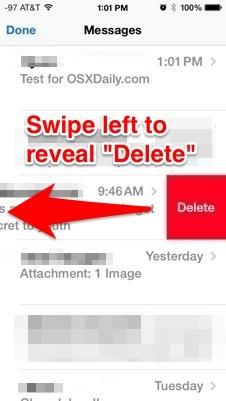 Elimina un intero messaggio da iOS 7