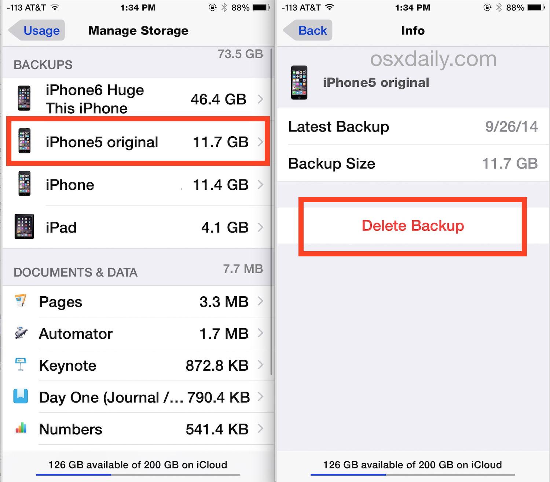Come eliminare i vecchi backup iCloud