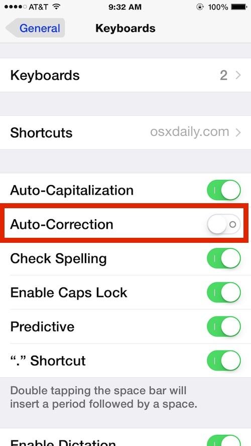 Disattiva la correzione automatica nelle impostazioni di iOS come si vede su iPhone