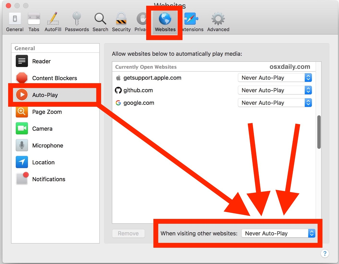 Disabilitazione della riproduzione automatica in Safari per Mac per tutti i siti Web