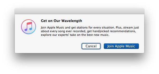 Popup di Apple Music in iTunes