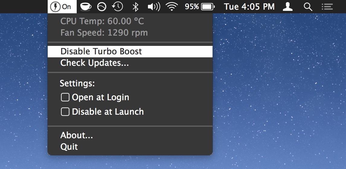 Come disattivare Turbo Boost su Mac