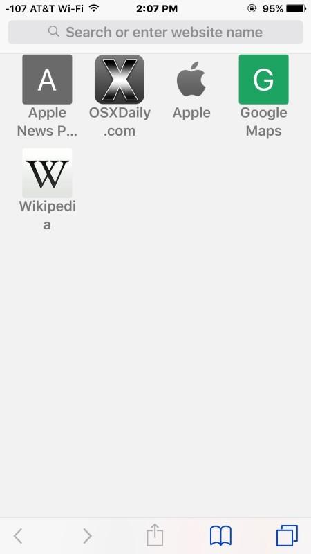 Nuova scheda Safari senza siti Frequently Visited abilitati