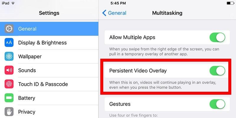 Disattiva la sovrapposizione di video persistenti su iPad
