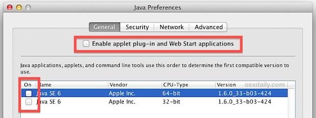 Disabilita Java in Mac OS X