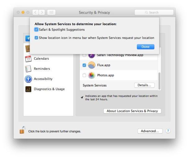 Suggerimenti per la ricerca del sistema Impostazioni della posizione in Mac OS X