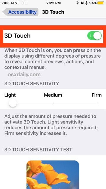 Abilita 3D Touch su iPhone