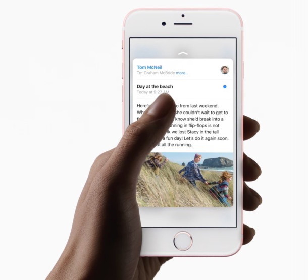 iPhone con 3D Touch abilitato, con un picco a un'e-mail