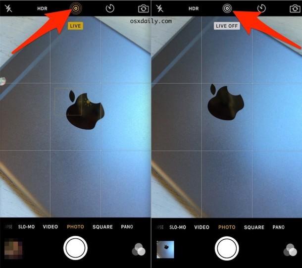 Trasformare le foto dal vivo in OFF o ON su iPhone Camera
