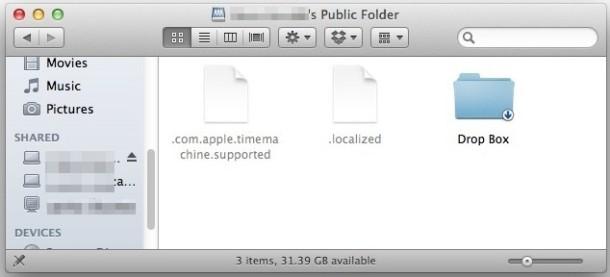 Rimuovi la cartella Public Share in Mac OS X