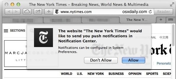 Invia richiesta di notifica in Safari per Mac OS X