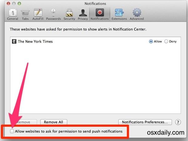 Disattiva le notifiche push del sito Web in Mac OS X