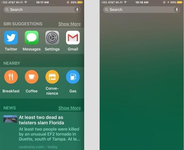Suggerimenti Siri nella ricerca Spotlight di iOS, mostrati on e off