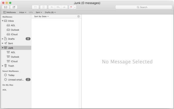 Svuota la cartella della posta indesiderata in Mail per Mac