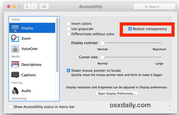 Riduci la trasparenza in OS X per disattivare effetti di interfaccia traslucidi su Mac
