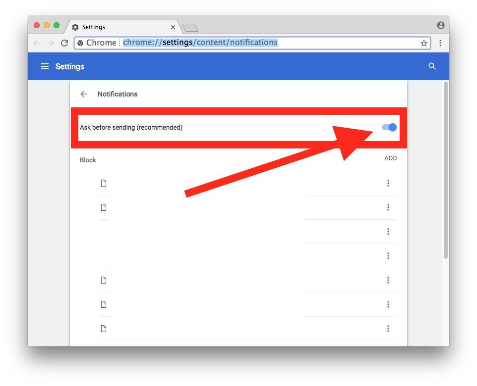 Attiva questa opzione per bloccare la visualizzazione delle richieste di notifica in Chrome