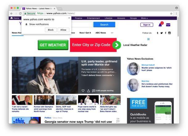 Esempio di richiesta di notifica Show da un sito Web in Chrome