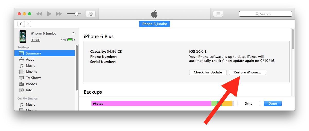 Esegui il downgrade di iOS 10 con iTunes