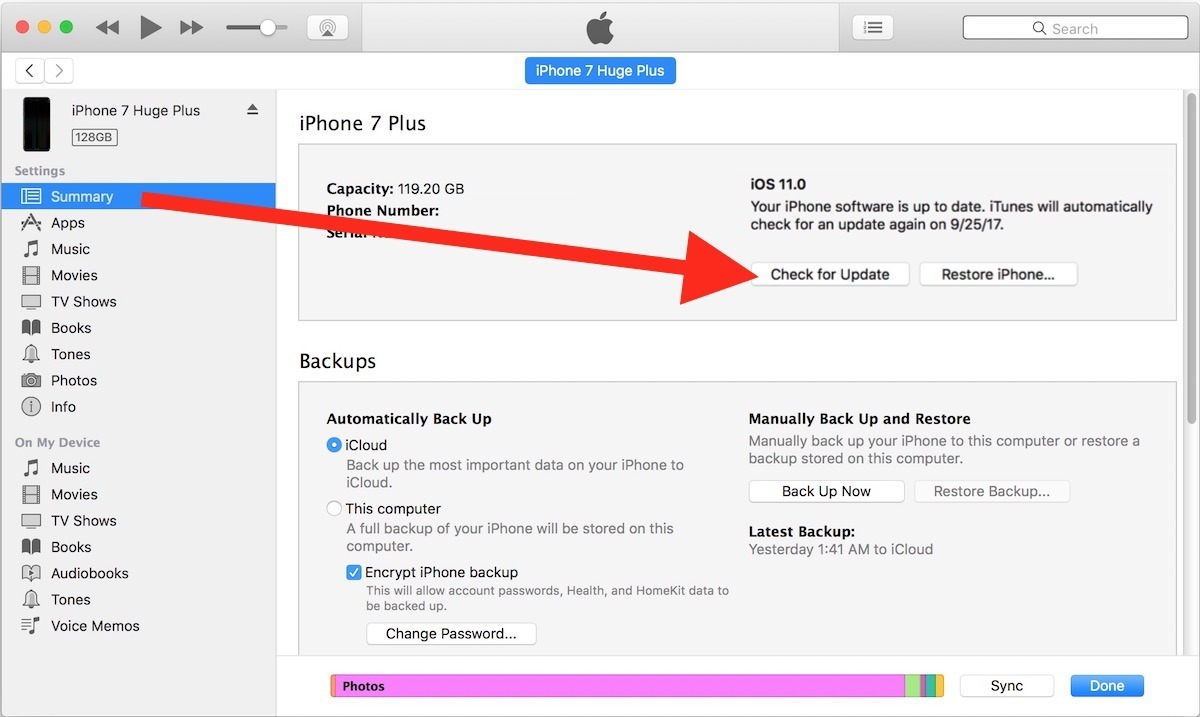 Downgrade di iOS 11 tramite iTunes