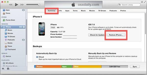 Downgrade di iOS 7 a iOS 6