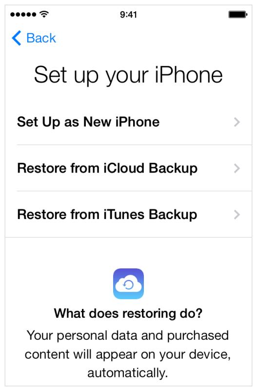 Configurazione di un nuovo iPhone o ripristino da un backup