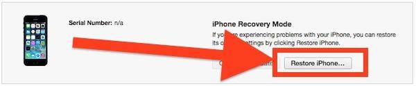 Ripristino di un iPhone con IPSW