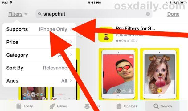 Tocca il pulsante Filtri e scegli iPhone solo su iPad