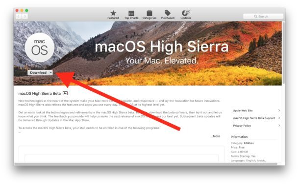 Scarica macOS High Sierra